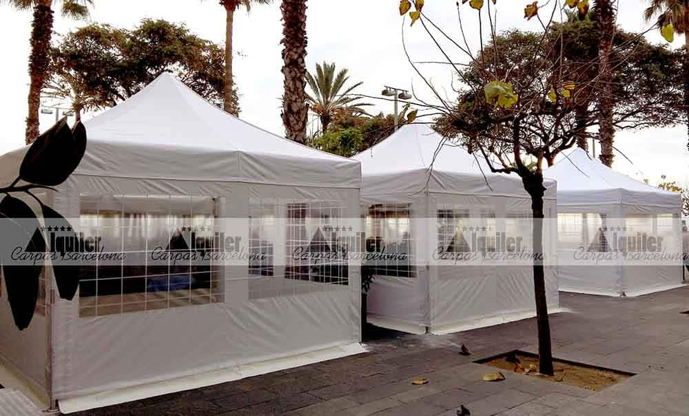 Carpas de 3x3m blancas de alquiler en la Barceloneta